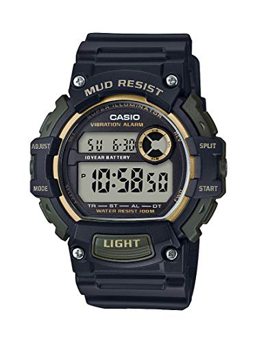 Casio Mud Resistant Stainless Steel Quartz Watch with Resin Strap, Black,...