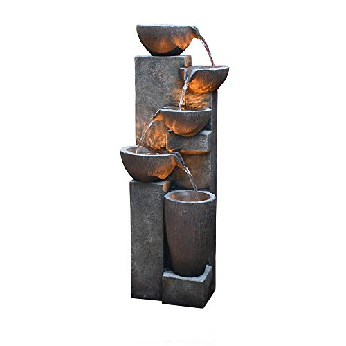 GF Gardenfans 5-Tier Outdoor Water Fountain Resin Fountain Decor with LED...