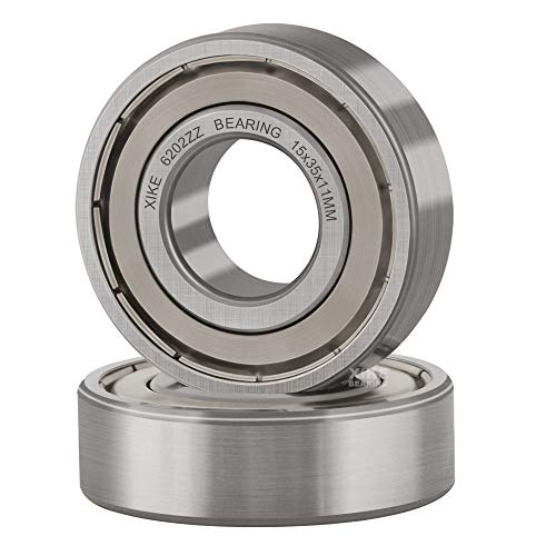 XiKe 2 Pcs 6202ZZ Double Metal Seal Bearings 15x35x11mm, Pre-Lubricated and...