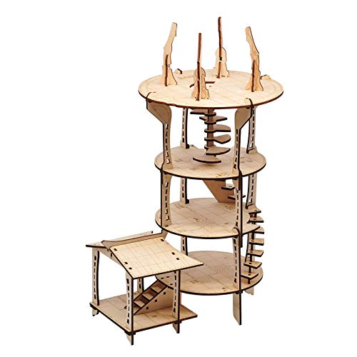 3D Mage's Tower Battle Map 4-Level 16 Inches Tall Wood Laser Cut with 1'...