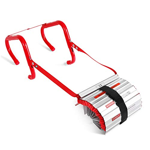 3 Story Fire Escape Ladder with Anti-Slip Rungs, Emergency Escape Ladder...