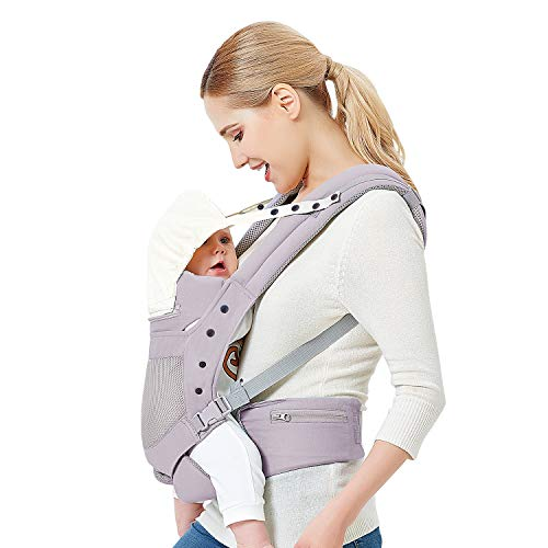 Baby Carrier with Adjustable Hip Seat,Baby Wrap Carrier with Hood, Soft &...