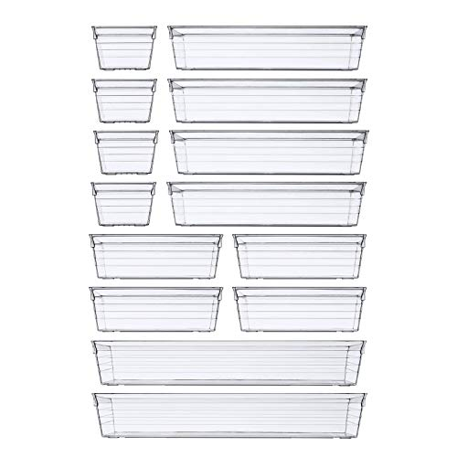 14 PCS Clear Plastic Drawer Organizer Tray for Makeup, Kitchen Utensils,...