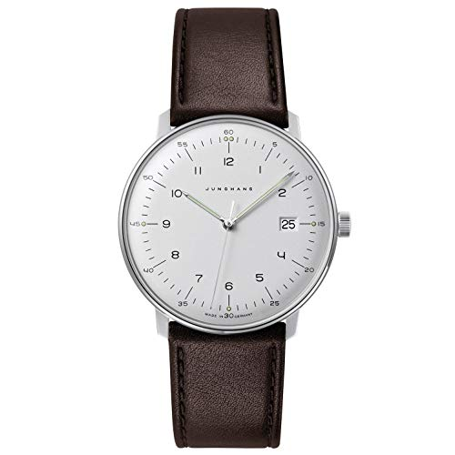 Junghans Men's Max Bill Stainless Steel Quartz Watch with Leather Calfskin...