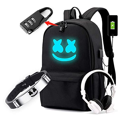 Cozyonme Smile Luminous Backpack with USB Charging Port Safety Lock & DJ...
