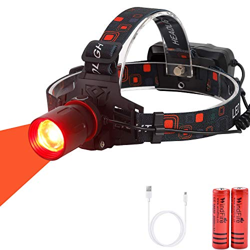 WindFire New Brightest Red Light Hunting Headlamp Zoomable 3 Modes Night...