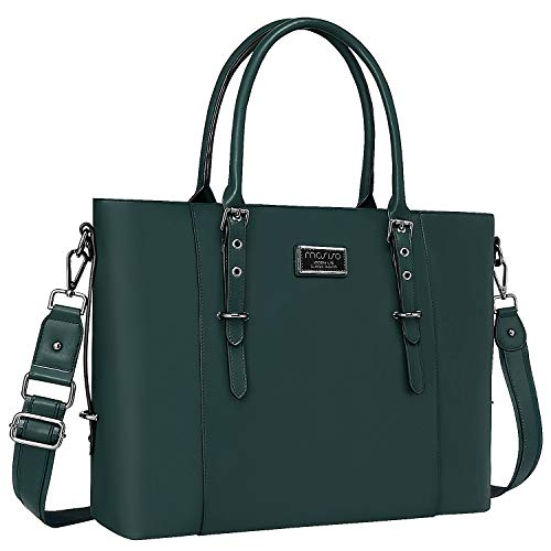 MOSISO PU Leather Laptop Tote Bag for Women (15-16 inch), Storm Green