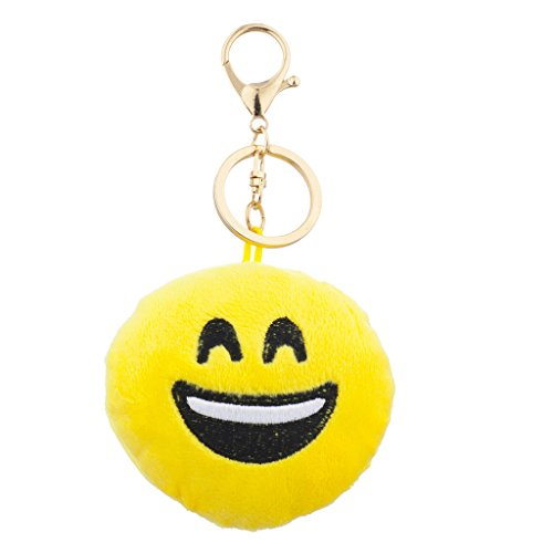 Lux Accessories Yellow Emoji Laughing Face Fabric Pillow Bag Charm Key...