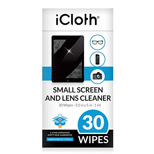 iCloth Lens Cleaning Wipes [5 x 3.5 Inches - 30 Wipes] Safe for All...