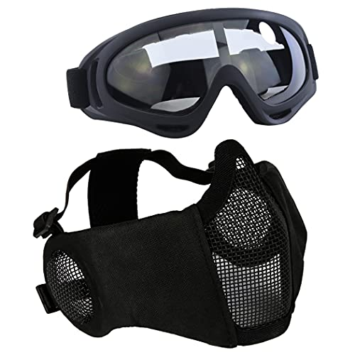 AOUTACC Airsoft Protective Gear Set, Half Face Mesh Mask with Ear...
