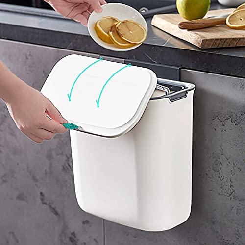 Aupekro Hanging Trash Can with Lid for Kitchen Cabinet Door, 2.3 Gallon...