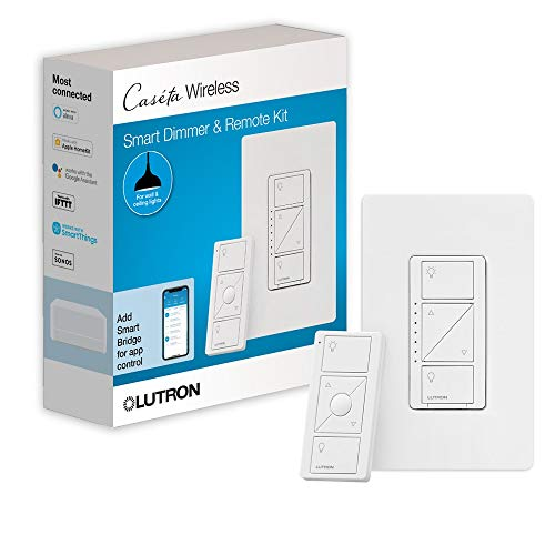 Lutron Caseta Wireless Smart Lighting Dimmer Switch and Remote Kit for Wall...