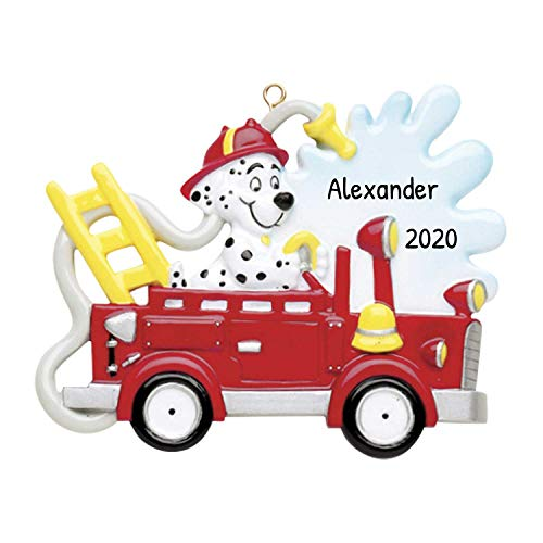 Personalized Fire Engine Truck Dog Christmas Tree Ornament 2021 - Dalmatian...