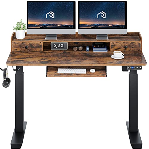 Rolanstar Height Adjustable Desk 55', Standing Desk with Keyboard Tray and...