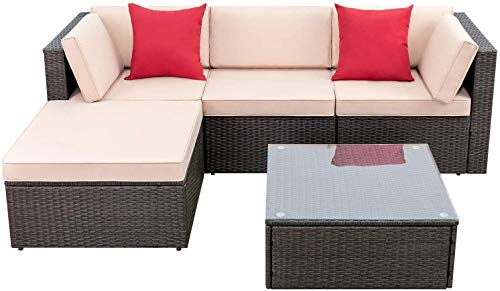 Devoko 5 Pieces Patio Furniture Sets All Weather Outdoor Sectional Sofa...
