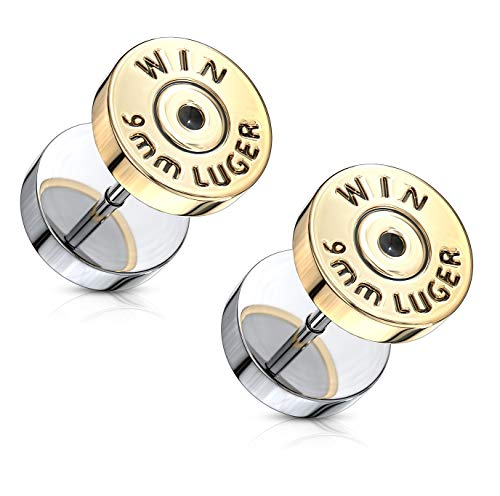 Winchester 9mm Luger Bullet Casing Fake Cheater Plugs in 316L Stainless...