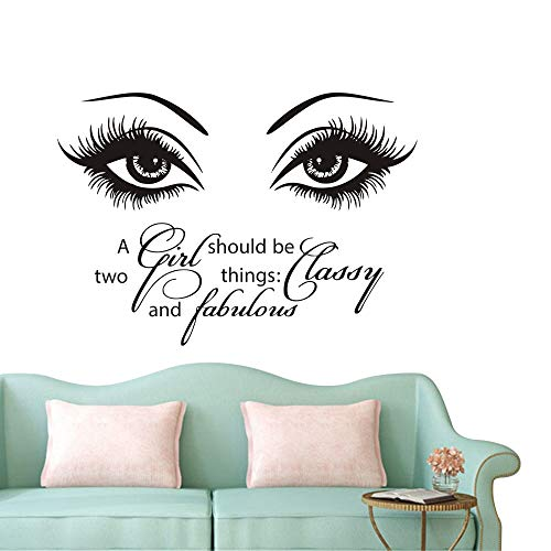 Eyes Wall Decals Beauty Salon Girl Eye Lash Quote A Girl Shoud Be Two...