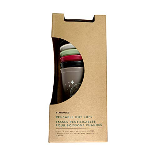 Starbucks Reusable Hot Cup Collection Pack Of 6 W/Lids 16 oz (Halloween,...