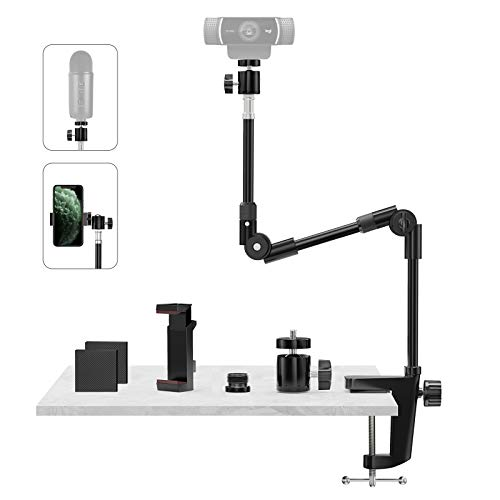 Webcam Stand Camera Mount with Phone Holder & 5/8'Screw, 25in Flexible...
