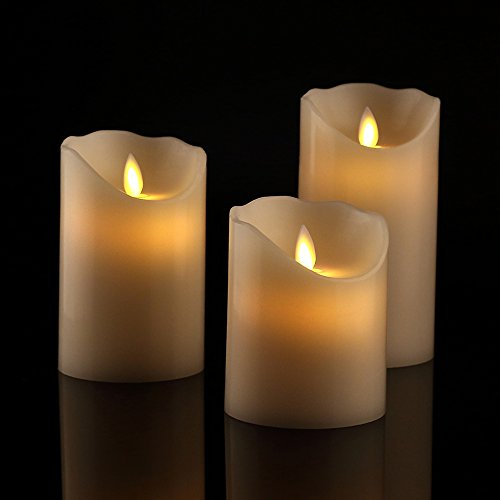 Antizer Flameless Candles 4' 5' 6' Set of 3 Ivory Dripless Real Wax Pillars...