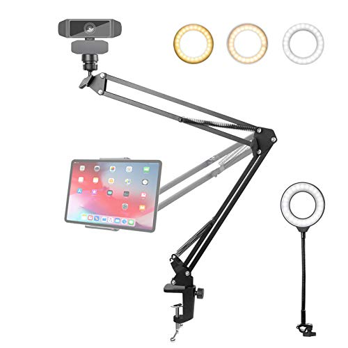 Webcam Stand and Tablet/Phone Holder with Ring Light, 25inch Upgraded...