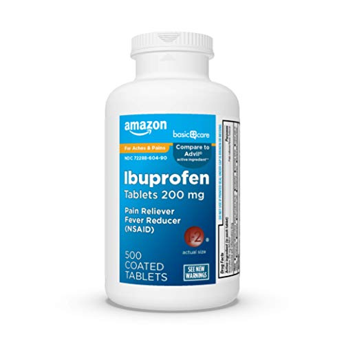 Amazon Basic Care Ibuprofen Tablets 200 mg, Pain Reliever/Fever (NSAID),...