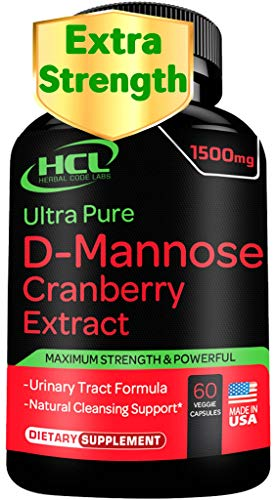 D-Mannose with Cranberry Extract Capsules 1500mg Super Strength Pills –...