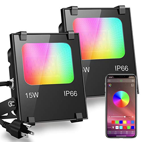 LED Flood Light 100W Equivalent RGB Color Changing, Outdoor Smart...