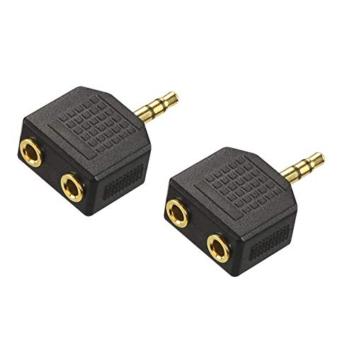 VCE 2-Pack 3.5mm Headphone Y Splitter, Gold Plated 3.5mm 1/8 inch Male to...