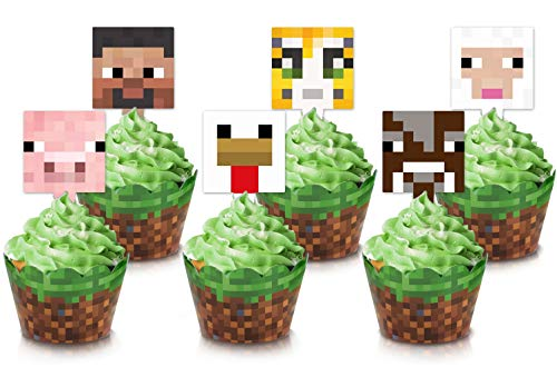 Video Game Dessert Cupcake Toppers and Wrappers 24 Pack Pixel Style Figure...