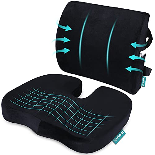 Coccyx Orthopedic Seat Cushion and Lumbar Support Pillow for Office Chair...