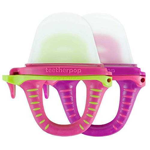 teetherpop 2 Pack Fillable, Freezable Baby Teether for Breastmilk, Purees,...