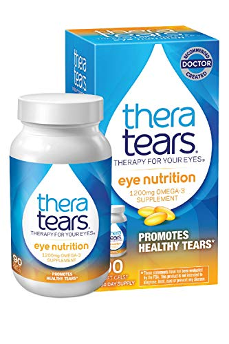 TheraTears 1200mg Omega 3 Supplement for Eye Nutrition, Organic Flaxseed...