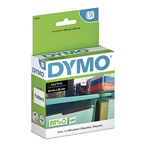 DYMO LW Library Book Spine Labels for LabelWriter Label Printers, White, 1'...
