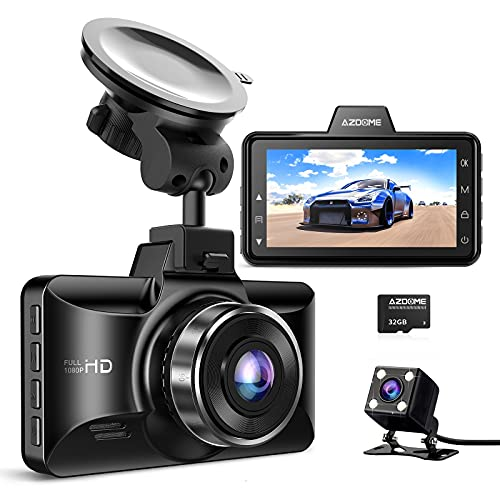 AZDOME Dual Dash Cam Front and Rear, 3 inch 2.5D IPS Screen Car Driving...
