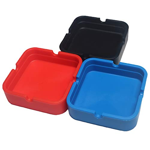 Square Silicone Ashtray for Cigarettes - 3 Pack Cute Ash Tray for Outdoor...