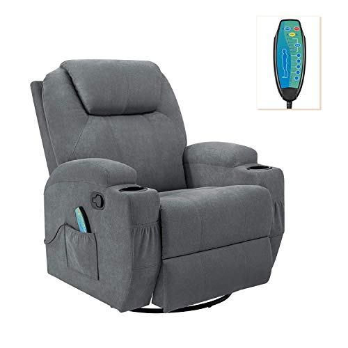 Flamaker Rocking Chair Recliner Chair with Massage and Heating 360 Degree...