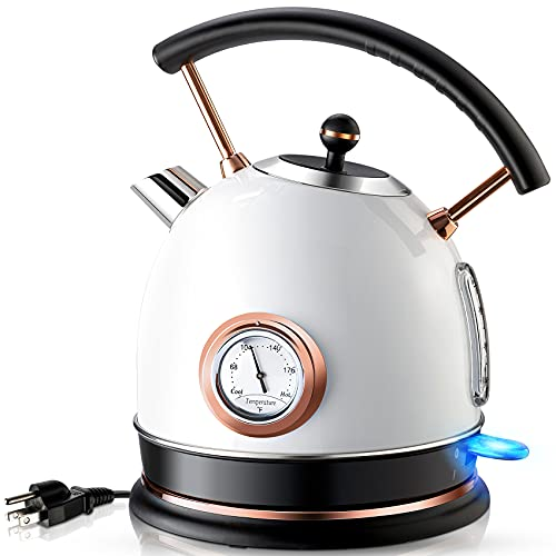 Pukomc Retro Electric Kettle Stainless Steel 1.8L Tea Kettle, Hot Water...