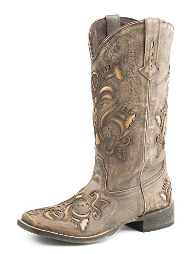 ROPER Womens Belle Tooled-Inlay Square Toe Western Cowboy Boots Mid Calf...