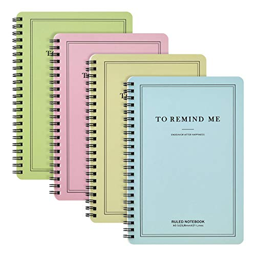 4 pieces of 8.26 x 5.9 inch (A5) color spiral notebook, themed college...