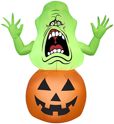 Halloween Inflatable 4 1/2' Slimer in Pumpkin, Holiday Decoration by Gemmy