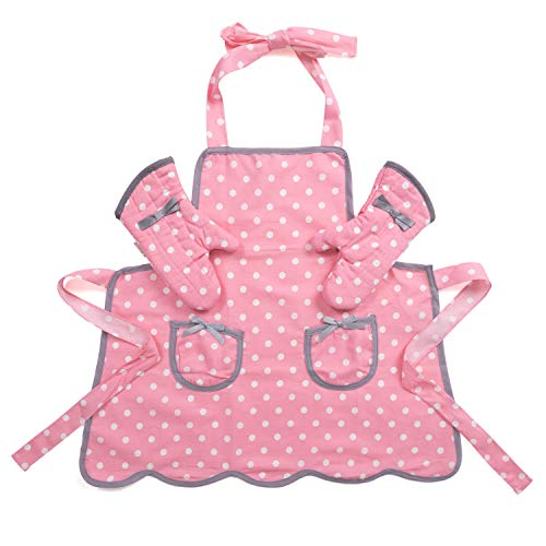 NEOVIVA Kids Apron and Kids Oven Mitts Set for Play Kitchen, Cute Polka...