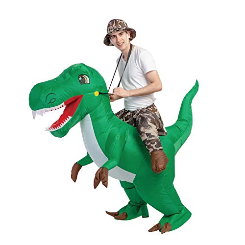 GOOSH Inflatable Dinosaur Blow Up Costumes Men Women Kid Riding a Green T...