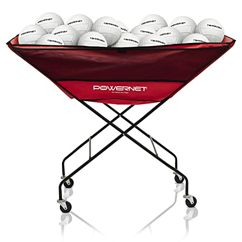 PowerNet Volleyball Wheeled Cart | Portable Hammock Ball Cart | Collapsible...