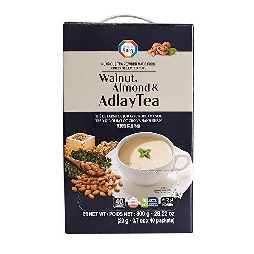 Surasang Job's Tears Tea Powder with Almond and Walnut, 0.7 Ounce, Pack of...