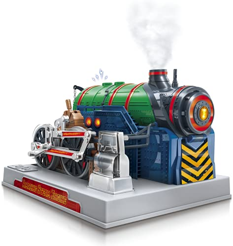 Playz Train Steam Engine Model Kit to Build for Kids with Real Steam, STEM...