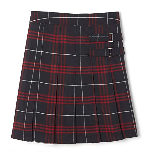 French Toast Girls' Plaid Two-Tab Scooter Skirt, Navy & Red Plaid Plaid,...