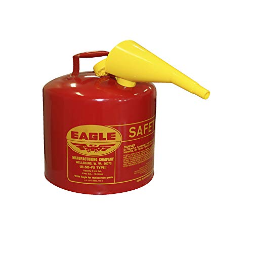 Eagle UI-50-FS Red Galvanized Steel Type I Gasoline Safety Can with Funnel,...