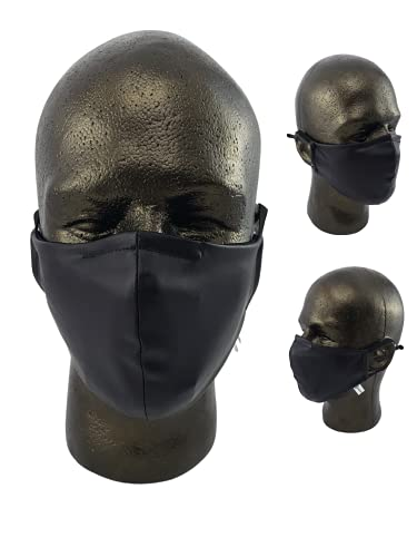 Handmade Black Stretch Synthetic Leather Face Mask with Nose Wire, PM2.5...