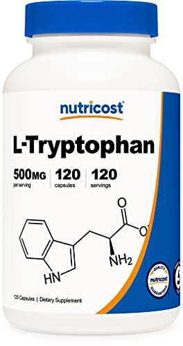 Nutricost L-Tryptophan 500mg, 120 Capsules - with BioPerine, Gluten Free,...
